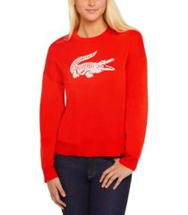 lacoste women's classic fit jacquard logo sweater
