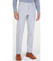 tommy hilfiger men's modern-fit thflex stretch light gray chambray suit pants