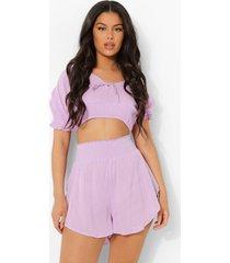 gekreukelde katoenen strand top en shorts set, lilac