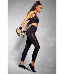 fit leopard mesh bra & legging set, black