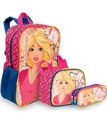 kit barbie 19m infantil sestini - mochila + lancheira + estojo