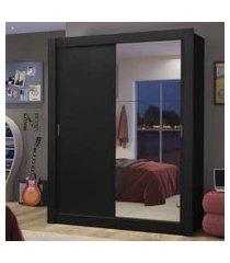guarda-roupa solteiro madesa dallas 2 portas de correr com espelho 2 gavetas preto preto