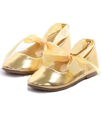 gold balerina shoes with rubbon ties bridesmaid birthday party flower girl
