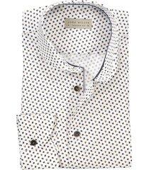 john miller tailored fit overhemd wit blauw motief