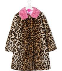 monnalisa leopard print a-line coat - neutrals