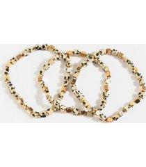 sienna cube beaded bracelet set - black/white