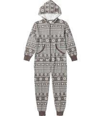 pigiama intero in felpa (grigio) - bpc bonprix collection