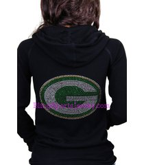 green bay packers jersey bling rhinestone zipper hoodie sweater