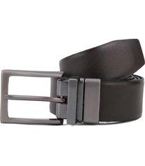 cinturón doble faz café-negro-plateado colore
