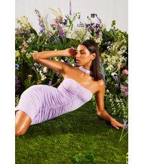 bodycon jurk met hoge hals en ruches, lila