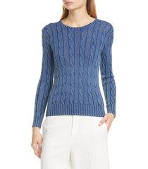 women's polo ralph lauren juliana cable knit cotton sweater, size x-large - blue