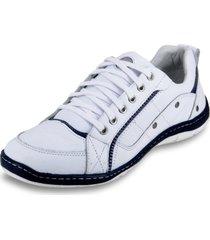 sapatãªnis de amarrar masculino clacle em couro branco e azul - branco - masculino - couro - dafiti