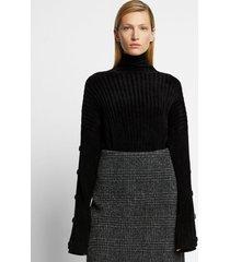 proenza schouler velvet merino buttoned turtleneck sweater /black l