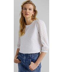 blusa con bordado calado en algodón ecológico blanco esprit