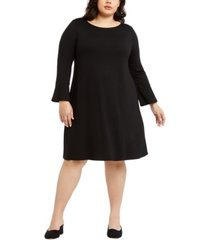 eileen fisher plus size round-neck bell-sleeve dress