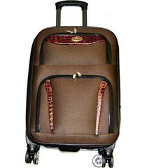 maleta de lona s2 grande 28 pulgadas-  café con naranja