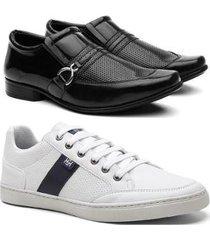 kit sapato social verniz + sapatênis masculino leve casual - masculino