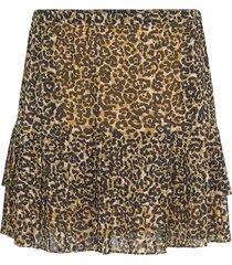 luipaard print rok met ruches ingeborg  zwart