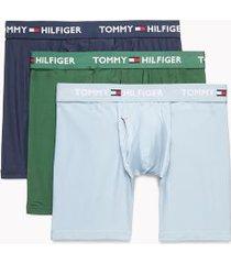 tommy hilfiger men's everyday microfiber boxer brief 3pk navy blazer/blue fog/greener pastured - xl