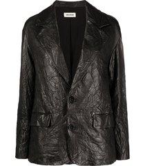 zadig & voltaire van crinkle lambskin jacket - black