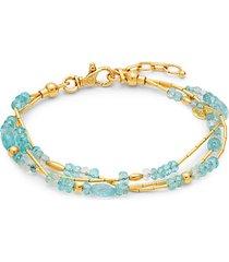 delicate flurries 24k yellow gold, apatite & aquamarine triple-strand bracelet