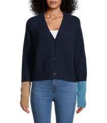 360 cashmere women's cashmere colorblock cardigan - navy multi - size s