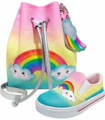 kit infantil bolsa + tênis arco-íris, magicc kids feminino - feminino