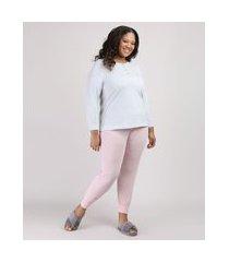 pijama feminino plus size canelado com botões manga longa rosa