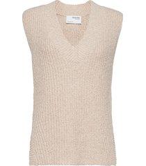 slfhelena knit vest v-neck vests knitted vests crème selected femme