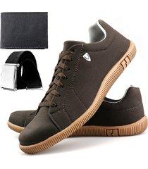 sapatenis touro boots sw  marrom + carteira + cinto - marrom - masculino - sintã©tico - dafiti