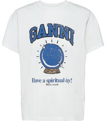 basic cotton jersey t-shirts & tops short-sleeved wit ganni
