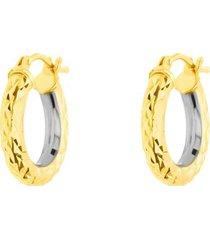 orecchini a cerchio bicolore oro giallo e oro bianco diamantati per donna