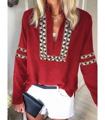 slit design tropical v-neck long sleeves blouse