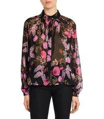 ramage rose silk georgette blouse