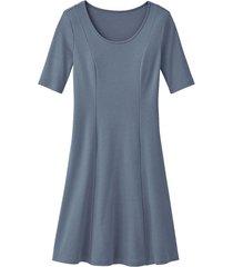 jersey jurk, rookblauw 46