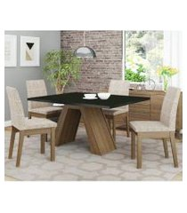 conjunto sala de jantar madesa liz mesa tampo de madeira com 4 cadeiras rustic/preto/fendi rustic/preto/fendi