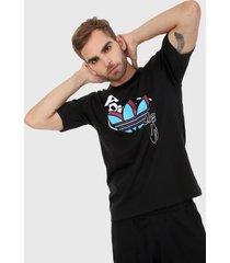 camiseta negro-azul-blanco adidas performance streetball trefoil