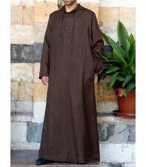 incerun hombres étnicos túnica manga larga suelta vendimia casual capucha
