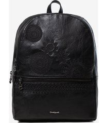 synthetic leather embossed backpack - black - u