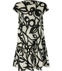 aspesi capped sleeve printed dress