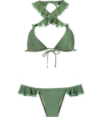 amir slama ruffled bikini - green