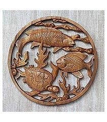wood relief panel, 'ocean haven' (indonesia)