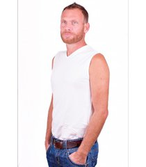 alan red sleeveless shirt occident white (two pack)