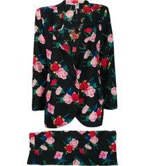 emanuel ungaro pre-owned 1980's floral skirt suit - black
