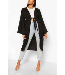 crepe wide sleeve tie kimono, black