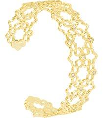 bracciale bangle in ottone dorato e strass con simbolo fiore per donna