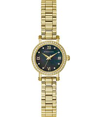 classic goldtone stainless steel & crystal bracelet watch