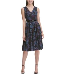 tommy hilfiger belted embroidered fit & flare dress