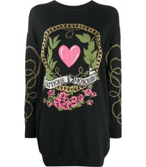 boutique moschino logo embroidered jumper dress - black