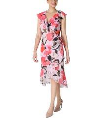 julia jordan floral-print side-shirred asymmetrical-hem dress